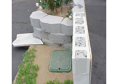 1:1 scale retaining wall model.